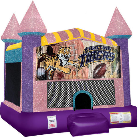 Tigers Inflatable bounce house with Basketball Goal Pink