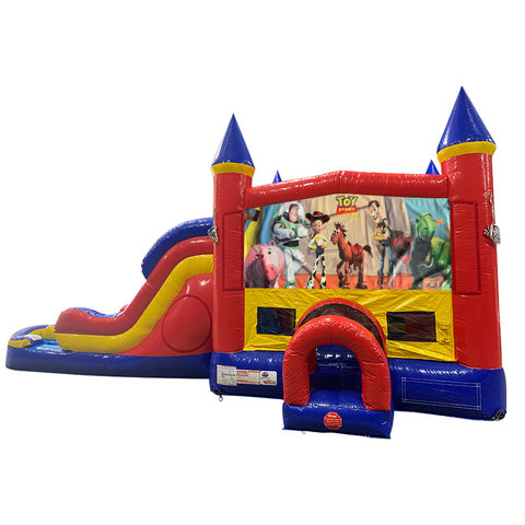 Toy Story Double Lane Dry Slide with Bounce House