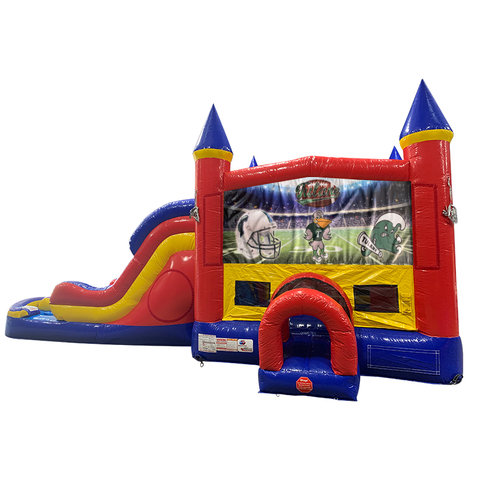 Tulane Double Lane Dry Slide with Bounce House