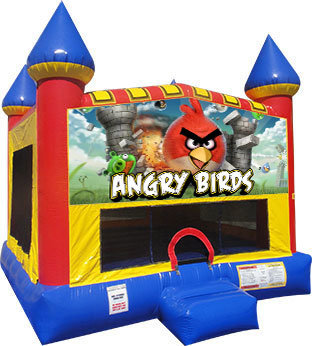 Angry birds Inflatable moonwalk w/ basketball goal
