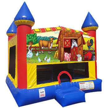 My Little Farm Inflatable bounce house with Basketball Goal