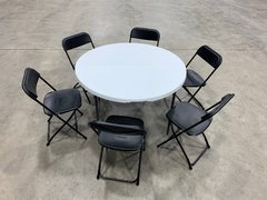 "Chairs (6) and 48"" round table (1)"
