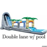 22 Ft. Double Lane Tropical Water Slide with Slip and Slide