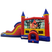 Angry Birds Double Lane Water Slide with Bounce House