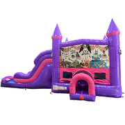 Armed Forces Dream Double Lane Wet/Dry Slide with Bounce House