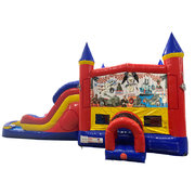 Armed Forces Double Lane Dry Slide with Bounce House