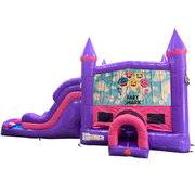 Baby Shark Dream Double Lane Wet/Dry Slide with Bounce House