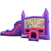Baby Shower Dream Double Lane Wet/Dry Slide with Bounce House