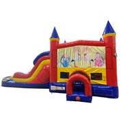 Baby Shower Double Lane Dry Slide with Bounce House