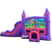 Barney Dream Double Lane Wet/Dry Slide with Bounce House