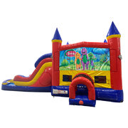 Barney Double Lane Water Slide with Bounce House