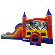 Batman Double Lane Water Slide with Bounce House