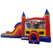 Blaze Double Lane Dry Slide with Bounce House