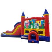 Blues Clues Double Lane Dry Slide with Bounce House