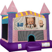 Boss Baby Inflatable Bounce house with Basketball Goal Pink