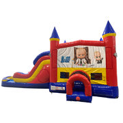 Boss Baby Double Lane Dry Slide with Bounce House