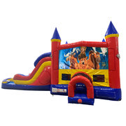 Brother Bear Double Lane Dry Slide with Bounce House