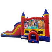Bubble Guppies Double Lane Dry Slide with Bounce House