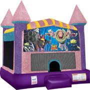 Buzz Lightyear Inflatable bounce house with Basketball Goal Pink
