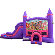 Candyland Dream Double Lane Wet/Dry Slide with Bounce House Combo