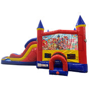 Candyland Double Lane Dry Slide with Bounce House