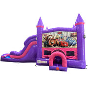 Cars Dream Double Lane Wet/Dry Slide with Bounce House