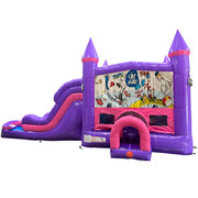 Cat in the Hat Dream Double Lane Wet/Dry Slide with Bounce House