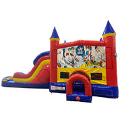 Cat in the Hat Double Lane Dry Slide with Bounce House