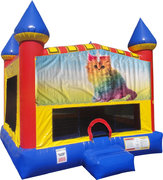 Caticorn Inflatable Bounce house with Basketball Goal