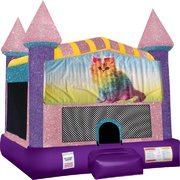 Caticorn Inflatable Bounce house with Basketball Goal Pink