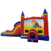 Caticorn Double Lane Water Slide with Bounce House
