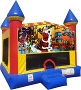 Christmas Inflatable bounce house with Basketball Goal