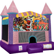 Christmas Inflatable bounce house with Basketball Goal Pink