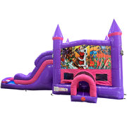 Christmas Dream Double Lane Wet/Dry Slide with Bounce House