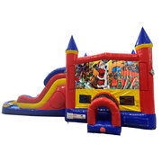 Christmas Double Lane Dry Slide with Bounce House
