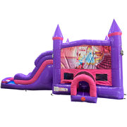 Cinderella Dream Double Lane Wet/Dry Slide with Bounce House