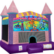 Circus Inflatable Bounce house with Basketball Goal Pink