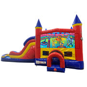 Circus Double Lane Dry Slide with Bounce House