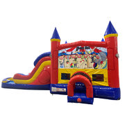 Circus Fun Double Lane Water Slide with Bounce House