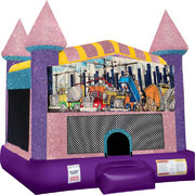 Construction Inflatable bounce house with Basketball Goal Pink