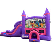 Construction Dream Double Lane Wet/Dry Slide with Bounce House