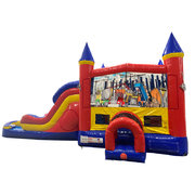 Construction Double Lane Dry Slide with Bounce House