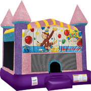 Curious George Inflatable bounce house with Basketball Goal Pink