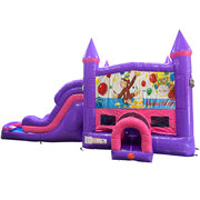 Curious George Dream Double Lane Wet/Dry Slide with Bounce House