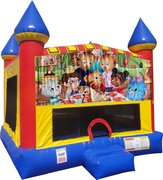 Daniel the Tiger bounce house with Basketball Goal