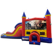 Dinosaurs 2 Double Lane Water Slide with Bounce House