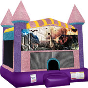 Dinosaurs 2 Inflatable Bounce house with Basketball Goal Pink