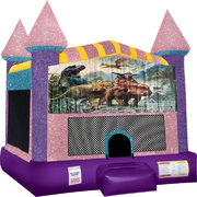 Dinosaurs 3 Inflatable bounce house with Basketball Goal Pink