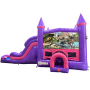 Dinosaurs 4 Dream Double Lane Wet/Dry Slide with Bounce House