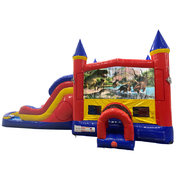 Dinosaurs 4 Double Lane Dry Slide with Bounce House